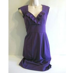 Blu Sage Dress Purple Ruffle Neckline Size S
